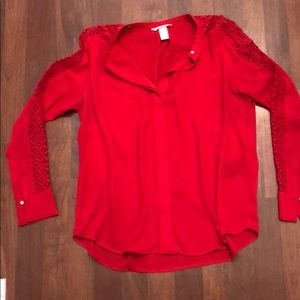 Red Blouse w/ Lace Sleeves Size 12